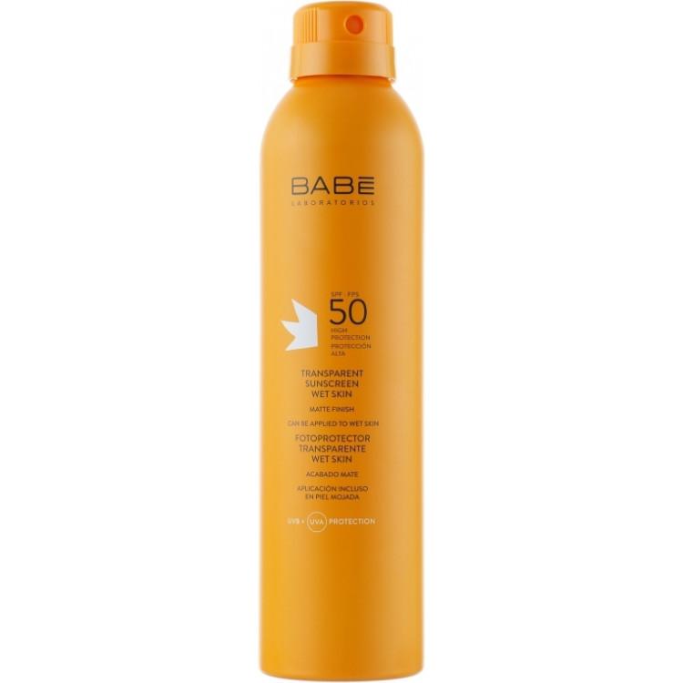Babe Laboratorios Fotoprotector Transparente Wet Skin - Солнцезащитный водостойкий спрей SPF 50+ 200 мл