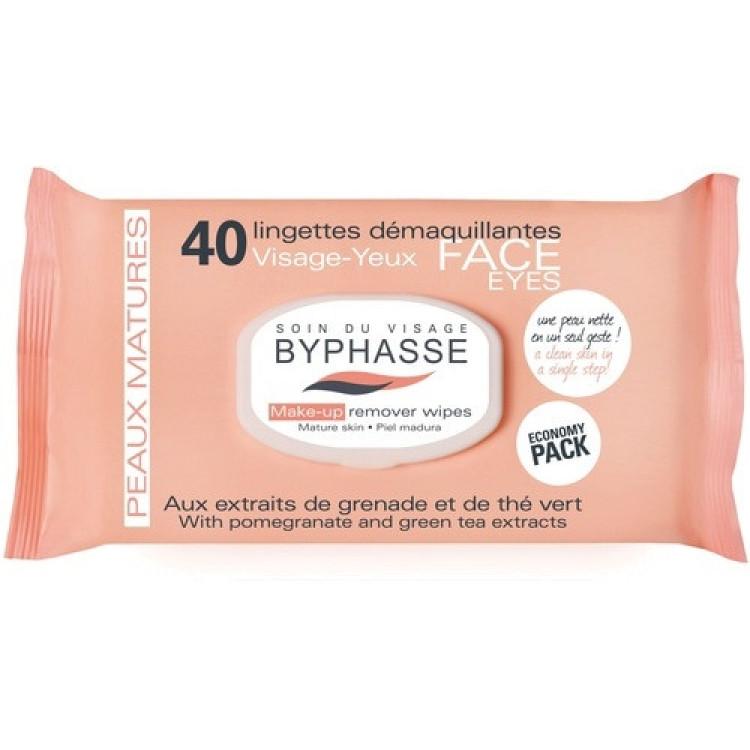 Byphasse Make-up Remover Pomegranate -Салфетки для снятия макияжа 40 шт