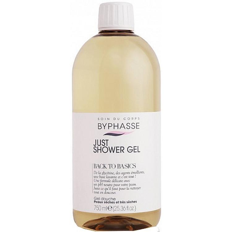 Byphasse Back To Basics Just Shower Gel Dry - Гель для душа для сухой и очень сухой кожи 750 мл