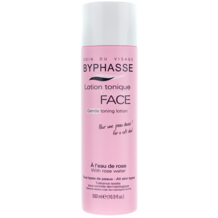 """Byphasse Gentle Toning Lotion With Rosewater All Skin Types - Лосьон-тоник лица """"Розовая вода"""" 500 мл"""