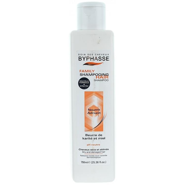 Byphasse Family Shampoo - Шампунь для сухих и поврежденных волос с медом и маслом карите 750 мл