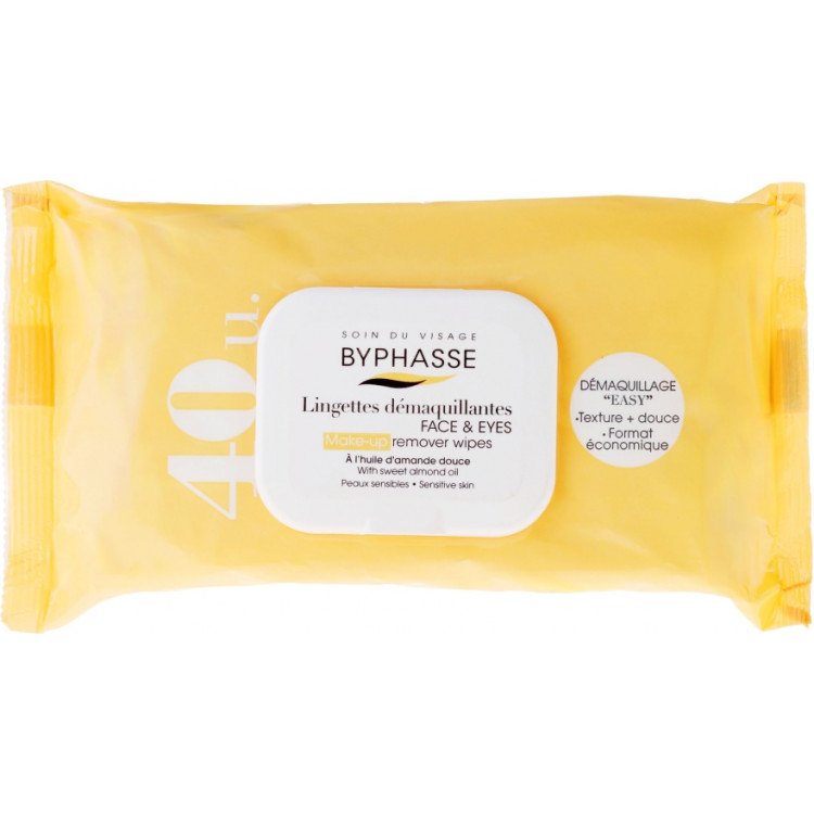 Byphasse Make-up Remover Sweet Almond Oil Wipes - Салфетки для снятия макияжа 40 шт