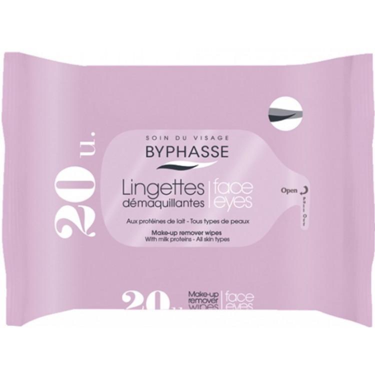 Byphasse Make-up Remover Milk Proteins All Skin Wipes - Салфетки для снятия макияжа, 20шт