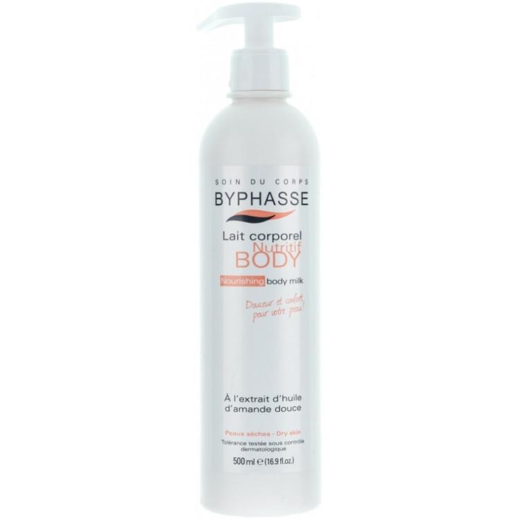 Byphasse Nourishing Body Milk - Молочко для тела увлажняющее с маслом миндаля 500 мл